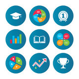 Graduation icons. Education book symbol. Royalty Free Stock Photo