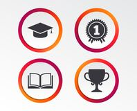 Graduation icons. Education book symbol. Graduation icons. Graduation student cap sign. Education book symbol. First place award. Winners cup. Infographic Stock Image