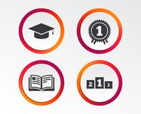 Graduation icons. Education book symbol. Graduation icons. Graduation student cap sign. Education book symbol. First place award. Winners podium. Infographic Stock Photo