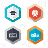 Graduation icons. Education book symbol Stock Photography
