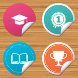 Graduation icons. Education book symbol. Royalty Free Stock Images