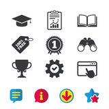 Graduation icons. Education book symbol. Stock Photography