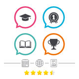 Graduation icons. Education book symbol. Royalty Free Stock Image
