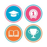 Graduation icons. Education book symbol. Royalty Free Stock Photos