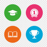 Graduation icons. Education book symbol. Graduation icons. Graduation student cap sign. Education book symbol. First place award. Winners cup. Round buttons on Royalty Free Stock Photo