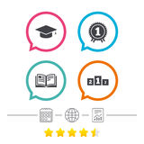 Graduation icons. Education book symbol. Royalty Free Stock Photography