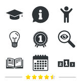 Graduation icons. Education book symbol. Stock Photo