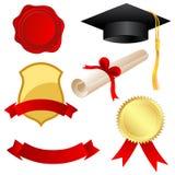 Graduation icons. Illustration of graduation icons on white background Stock Photos