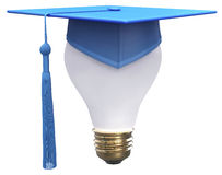 Graduation idea cap light bulb Royalty Free Stock Photo