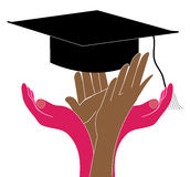 Graduation. Illustration of graduation celebration with hands and graduation hat Stock Photos