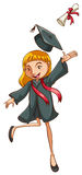 Graduation. Illustration of a girl graduating with a degree Royalty Free Stock Photography
