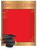Graduation invitation card with mortars Stock Photos