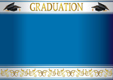 Graduation invitation card with mortars Royalty Free Stock Photos