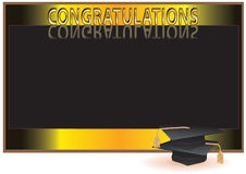 Graduation invitation card with mortars Stock Images