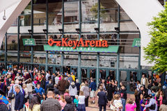 Graduation at Key Arena. Crowd gathering for graduation ceremony at Seattle's Key Arena stock photos