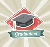 Graduation label. Over  grunge background vector illustration Royalty Free Stock Images