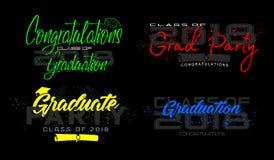 Graduation label. Vector. Set. Graduation label. Vector text for graduation design, congratulation event, party, high school or college graduate. Lettering Class Stock Images