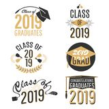 Graduation labels and tags set isolated on white background stock illustration