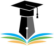 Graduation logo. Illustration of graduation logo with cap and books Stock Photography