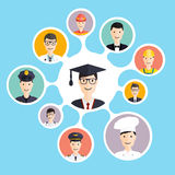 Graduation male student make career choices. Vector illustration Stock Photos
