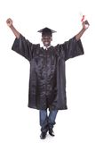 Graduation Man With Arm Raised Stock Images