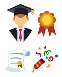 Graduation man silhouette uniform avatar vector illustration. Student education college success character with diploma Royalty Free Stock Photos