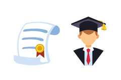 Graduation man silhouette uniform avatar vector illustration. Student education college success character with diploma Royalty Free Stock Image