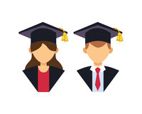 Graduation man and woman silhouette uniform avatar vector illustration. Student education college success character with Stock Photo