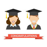 Graduation Man and Woman Vector Icon Stock Photography