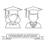 Graduation Man and Woman Vector Icon Royalty Free Stock Photo