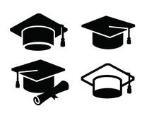 Graduation map icon. Vector black illustration of graduation map icon on white Stock Images