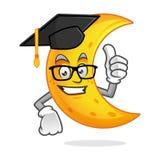 Graduation moon mascot wearing graduation cap, moon character, m Stock Photos