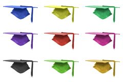 Graduation mortar background. Graduation mortar in different colours isolated over white background Vector Illustration
