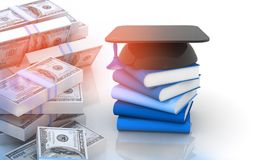Graduation mortar board cap and books with stack of us dollars. 3d illustraion Stock Image