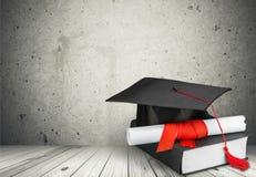 Graduation. Mortar Board Diploma Book Learning Cap Certificate stock photo