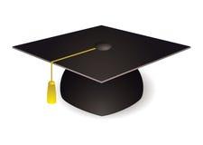 Graduation mortar board hat. Black graduation mortar board hat with gold trim Stock Photo