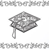 Graduation mortar board. Stylized with floral scrolls Stock Image