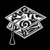 Graduation mortar board. Stylized with floral scrolls Stock Photos