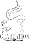 Graduation with mortar and candle.vector eps. Graduation with mortar and candle with stylized words rising like smoke.vector eps Stock Photo