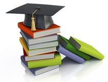 Graduation mortar on top of books. 3d image on white background Stock Image