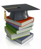 Graduation mortar on top of books. 3d image on white background Stock Images