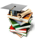 Graduation mortar on top of books. 3d image on white background Royalty Free Stock Photo