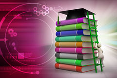 Graduation mortar on top of books. In color background Royalty Free Stock Images