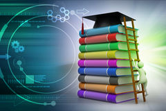 Graduation mortar on top of books Royalty Free Stock Images
