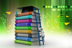 Graduation mortar on top of books Stock Image