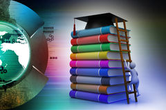 Graduation mortar on top of books. In color background Stock Images