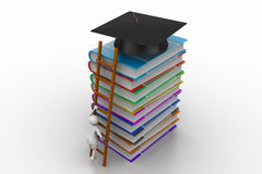 Graduation mortar on top of books. In white background Royalty Free Stock Image