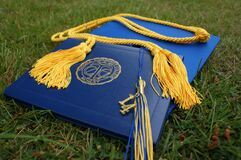 Graduation mortarboard cap on grass