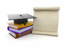 Graduation. Mortarboard, diplôme et livres Photographie stock