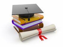 Graduation. Mortarboard, diplôme et livres. 3d Images stock